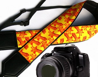 Giraffe camera strap. Bright yellow & orange camera strap. DSLR / SLR. Durable, light and padded camera strap by InTePro for photographer.