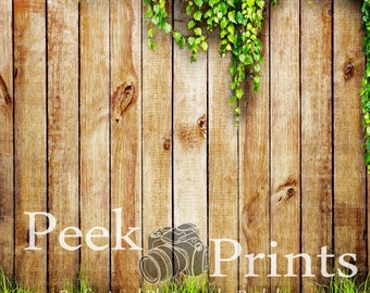 7ft.x7ft. Cedar Fence with Greenery Vinyl Photography Backdrop