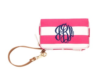 Monogrammed Wristlet/Wallet/Cell Phone Wallet in Nautical Striped Pattern
