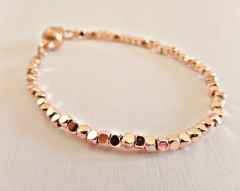 Rose gold bracelet, Pink gold bracelet, Skinny bracelet, Delicate bracelet, Simple bracelet, Rose gold jewellery, Tiny beads, UK seller