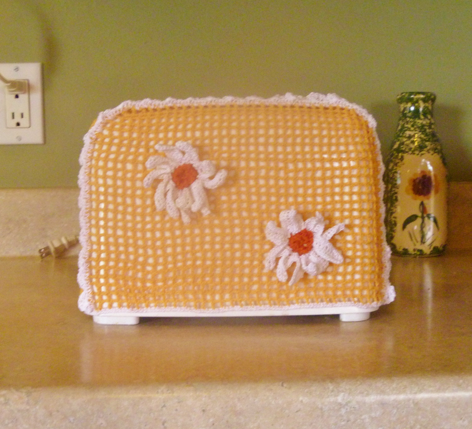toaster cover vintage style crochet daisy two slice. Black Bedroom Furniture Sets. Home Design Ideas