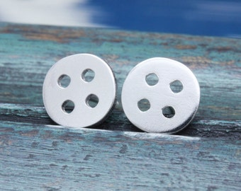 925 stering silver 4 holes button stud earrings (E_00042)
