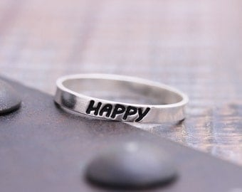 925 sterling silver happy band ring (WPR_00011)