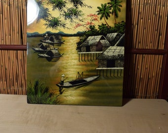 Vintage Vietnamese Lacquer Painting Sunset in Southern Vietnam