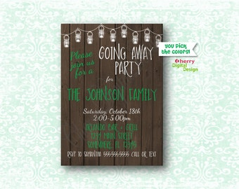 going away party  etsy, Party invitations