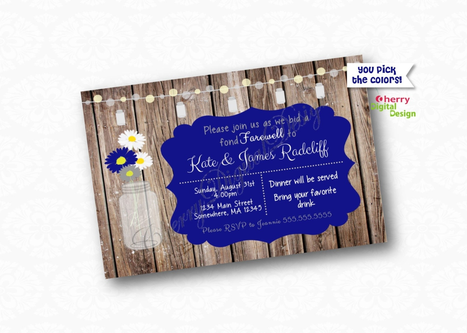 pretty rustic going away party printable invitation. farewell, Party invitations