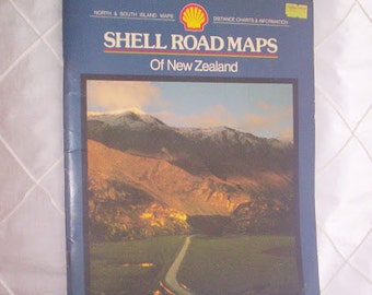 Vintage 80's New Zealand road map from Shell