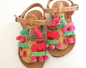 Ethnic baby leather sandals