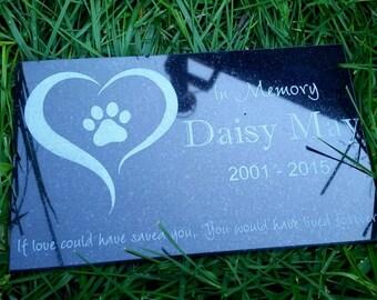 "Pet memorial stone granite grave marker dog cat horse 10"" x 6"" bird rabbit human Grave stone Labrador Golden Retriever"