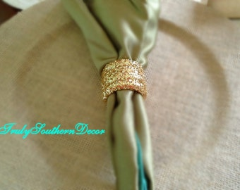 Set of 4. Gold Glitter Napkin Ring. Table Decor.