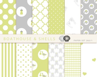 24 BABY GREEN & GREY Scrapbooking Papers, Scrapbooking digital paper pack in light green + grey, printable, instant download, 24 papers, 262