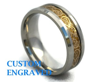 Engraved Stainless Steel Dragon Ring - Personalized Steel Dragon Ring - Personalized Ring - Custom Engraved Steel Dragon Ring - Gift for Him