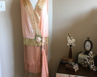 Upcycled 1920s Peignoir Robe, Flapper Wrap Dress w/Antique Metal Lace & Ribbonwork / Special Event Dress