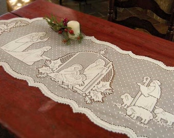 """Vintage Style Table Runner Christmas Holiday """"Silent Night"""" 14""""W x 54""""L Ivory"""