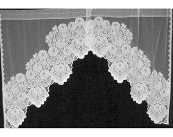 "Shabby Chic Swag Sheer Lace Curtains Pair ""Cleremont""  60""W x 36""L White Polyester Kitchen, Bedroom"
