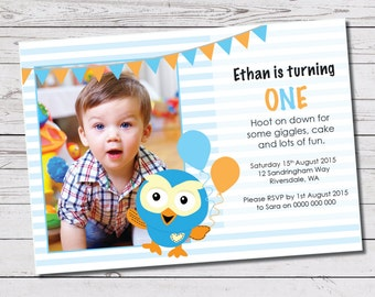 Custom Printable Children's Birthday Party Invite - Giggle & Hoot design