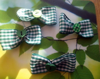Green Gingham School Uniform Bow