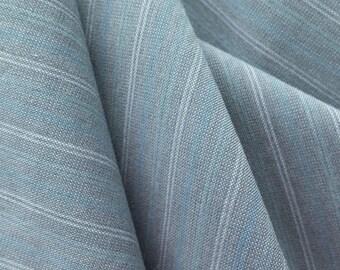 Blue Pinstripe Cotton Fabric Etsy
