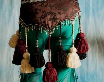 ATS Black Cherry Tribal Yarn Tassel Belt