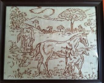 Kentucky Hand Stitched Folk Art Scene