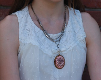 Romantic Steampunk Cameo Necklace, free shipping