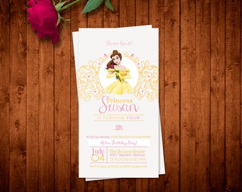 Printable Beauty and the Beast Belle Invitation