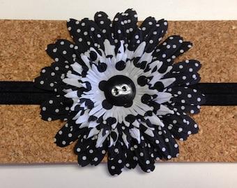 Black and White Polka Dot Flower Center Button Elastic Head Band