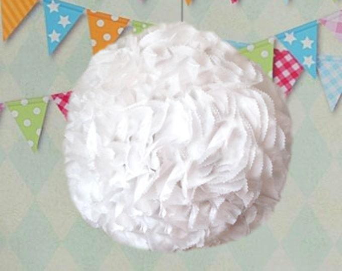 "16"" White Kissing Ball | Gender Reveal | Flower Ball | Pomander | Kissing Ball | Wedding Piñata | Baby Shower Piñata | Piñata"