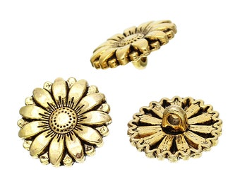 Metal Sunflower Buttons. Gold Tone. 18mm. Nickel Free. Ideal for Sewing Knitting Scrapbook and other craft projects