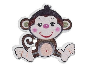 "Wooden Cheeky Coffee Monkey Design Sewing Buttons.29.0mm(1 1/8"") x 28.0mm(1 1/8""). Ideal for Sewing, Scrapbook and Crafts"