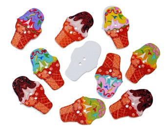 "Assorted Ice Cream Design Sewing Buttons. 30.0mm(1 1/8"") x 19.0mm( 6/8""). Ideal for Sewing, Scrapbook and Crafts"