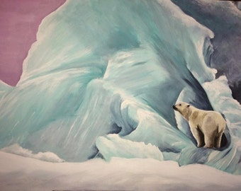 Portrait of a Polar Bear - Limited editin Mounted A3 artist print by Heather Hindle