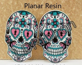 Candy Skull Flat Back Resins (Set of 2)