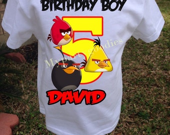 Angry birds birthday shirt, personalized angry birds shirt, boys birthday shirt, Angry Birds shirt, Angry birds party.
