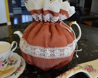 Tea cozy frills and lace, Rusty bronze copper tea cosy, Insulated tea cozy