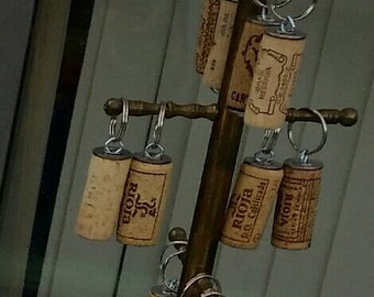 Wine cork keyring upcycled.