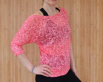 Coral Pink Yoga Top, Pilates Top, Long Sleeve Active Tee, Burnout Jersey Top, Women's Activewear