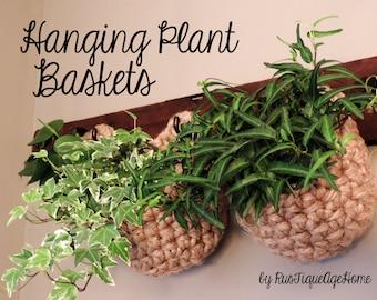 Indoor Herb Garden Baskets, Plant Hanger, Coat Rack Wall Garden, Eco Friendly Jute, Hook Storage, Sturdy Rustic Hanging Succulent Pouch