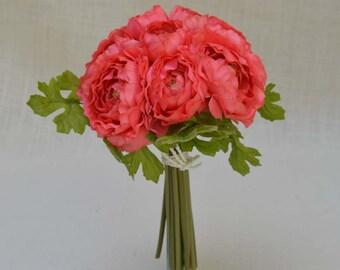 No. 3085 Coral Ranunculus Wedding Bouquet, Artificial Flower Bouquet, Artificial Flower, Wedding Bouquet,Bridal Bouquets Bridesmaid Bouquet.