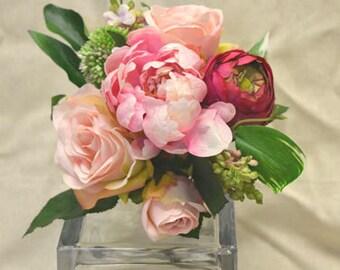 No. 4047 Peony , Rose, Lilac, Ranunculus Bouquet - Artificial Flower Bouquet, Artificial Flower, Wedding Bouquet, Bridesmaid Bouquet.