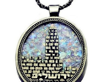 Tower of David Necklace with Roman Glass in Silver