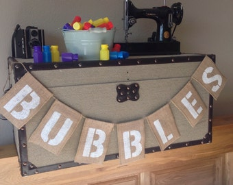 Viintage Wedding Bunting Banner BUBBLES. Childrens Wedding Table