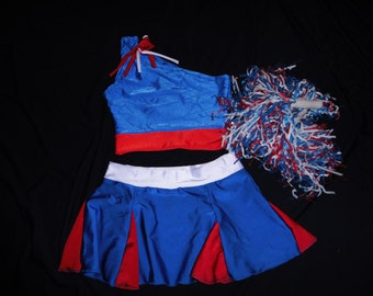CHEERLEADER pageant princess YOUTH  with poms crop top  & skirt custom made competitive dance gymanstic tumbling pageant