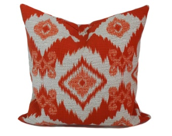 Sale!!!, Outdoor pillow, 16x16, Outdoor pillow cover, Orange pillow, Outdoor throw pillow, Ikat pillow, Toss pillows, Outdoor cushion