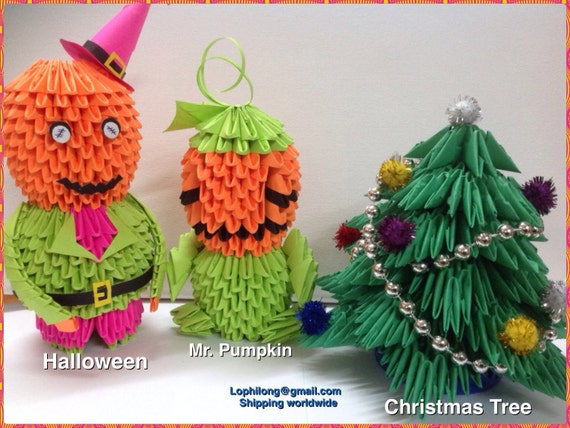 M arbre de citrouille halloween no l 3d origami d coration - Arbre de noel origami ...