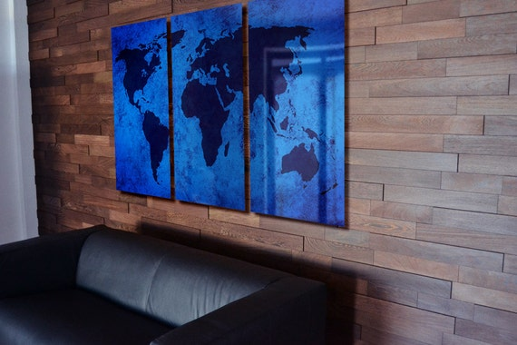 World Map Wall Art Abstract Metal Panels
