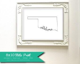 Printable Oklahoma State Art Print 8x10 Digital Wall Art Gift