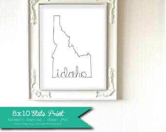 Printable Idaho State Art Print 8x10 Digital Wall Art Gift