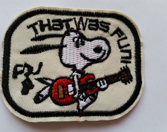 Snoopy Peanuts Playing Guitar That was Fun iron on patch