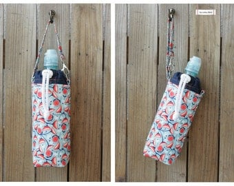 MTO Insulated water bottle bag/wristlet - Flowers